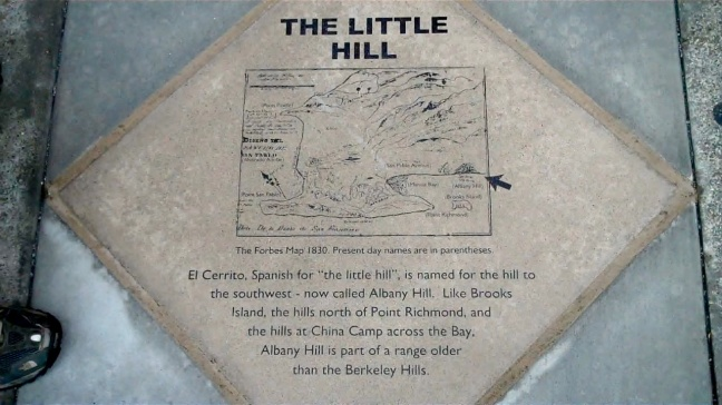 little hill plaque in sidewalkel cerrito