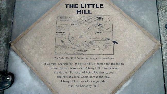 little hill plaque in sidewalkel cerrito